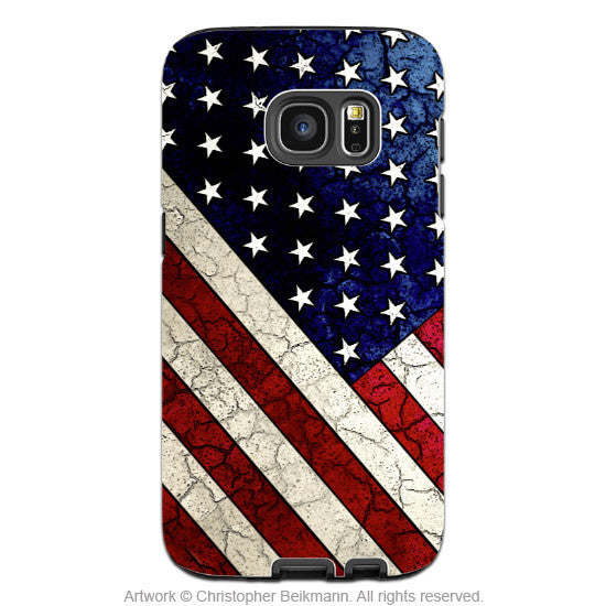 American Flag Galaxy S7 EDGE Case - Stars & Stripes - USA Vintage Textured Flag - Galaxy S7 EDGE TOUGH Case - 1