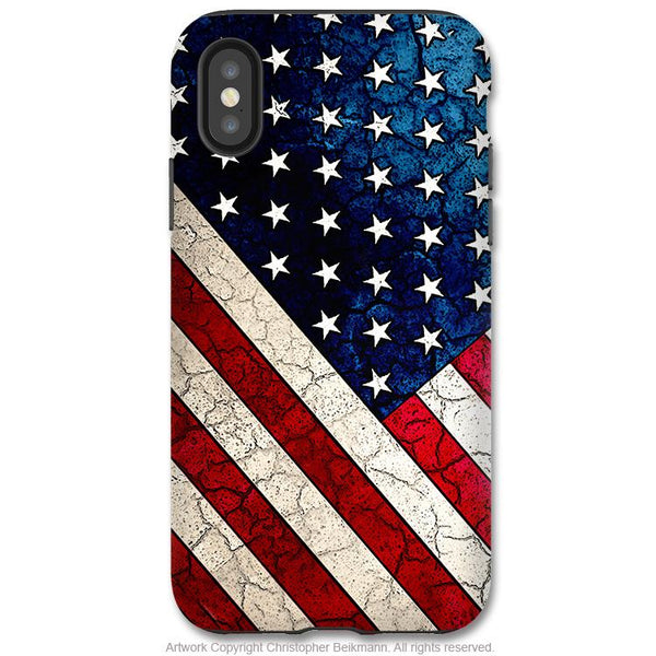 Stars and Stripes - iPhone X Tough Case - Dual Layer Protection for Apple iPhone 10 - American Flag Case - iPhone X Tough Case - Fusion Idol Arts - New Mexico Artist Christopher Beikmann
