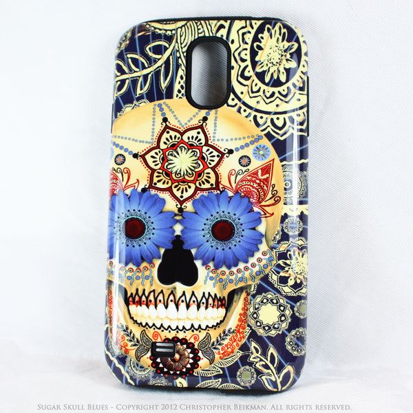 Sugar Skull Blues - Day of The Dead Art Galaxy S4 case - TOUGH style protective case - Galaxy S4 TOUGH Case - 1