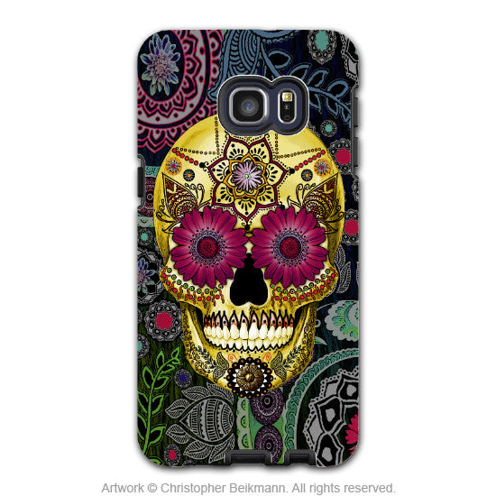 Colorful Paisley Sugar Skull - Artistic Galaxy S6 EDGE+ TOUGH Case - Dual Layer Protection - Sugar Skull Paisley Garden