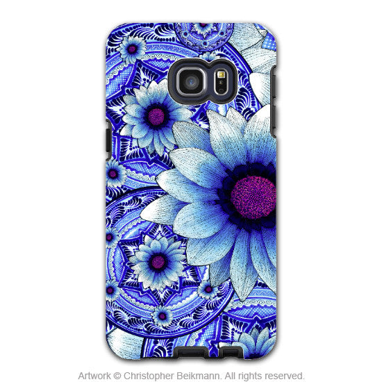 Blue Boho Floral - Artistic Galaxy S6 EDGE+ TOUGH Case - Dual Layer Protection - Talavera Alejandra