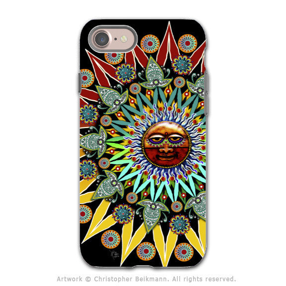Tribal Aztec Sun - Artistic iPhone 7 Tough Case - Dual Layer Protection - Sun Shaman - iPhone 7 Tough Case - 1