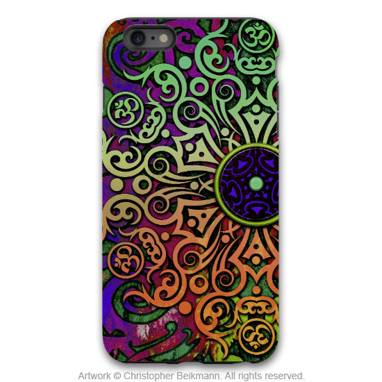 Tribal Transcendence - Om iPhone 6 6s Plus TOUGH Case - Orange - Purple Green - Tribal Mandala - Dual Layer Case by Da Vinci Case - iPhone 6 6s Plus Tough Case - 1
