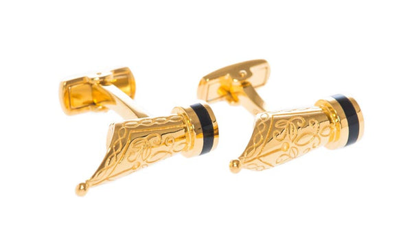 Pen Nib Gold Cufflinks