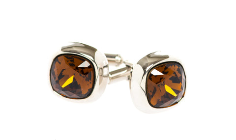Tiger Eye Solitaire Crystal Cufflinks