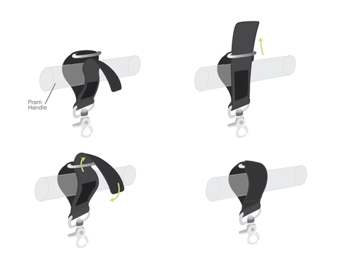 VANCHI Pram Caddy Clips - How to thread