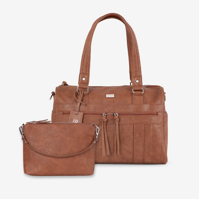 VANCHI Indie Holdall & Vegan Leather Crossbody Bag - Tan Bundle