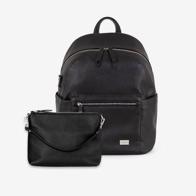 Manhattan Backpack Nappy Bag & Vegan Leather Crossbody Bag - Black Bundle
