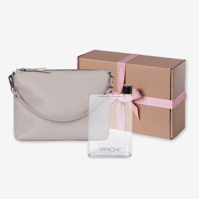 Vegan Leather Everyday Crossbody Bag + Bottle Gift Set - Barcelona Grey