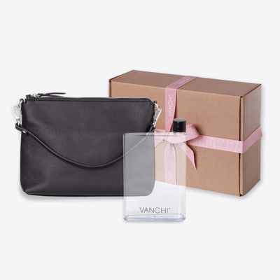 Vegan Leather Everyday Crossbody Bag + Bottle Gift Set - Black
