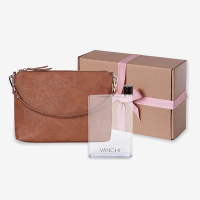 Vegan Leather Everyday Crossbody Bag + Bottle Gift Set - VANCHI Tan
