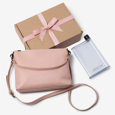 Everyday Leather Crossbody Bag + Bottle Gift Set- Blush