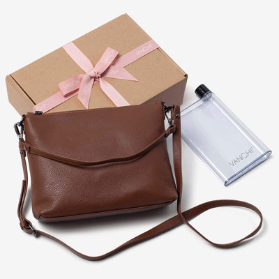 Everyday Leather Crossbody Bag + Bottle Gift Set - Tan