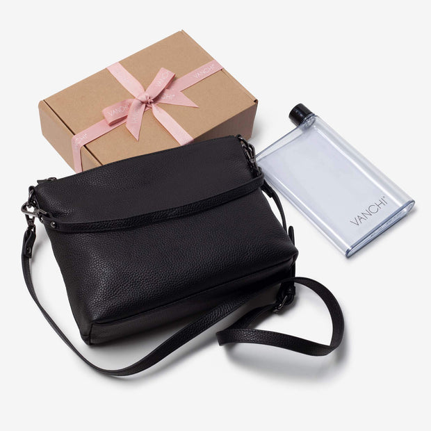 Everyday Leather Crossbody Bag + Bottle Gift Set - Black