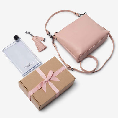 Everyday Leather Crossbody Bag, Leather Key Ring + Bottle Gift Set – Blush