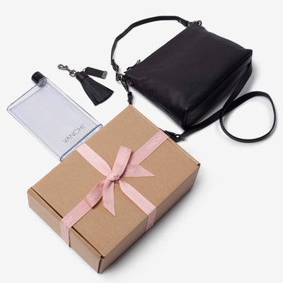 Everyday Leather Crossbody Bag, Leather Key Ring + Bottle Gift Set – Black