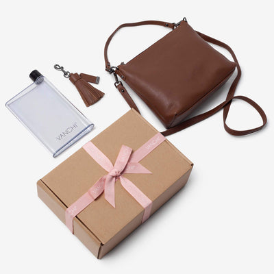 Everyday Leather Crossbody Bag, Leather Key Ring + Bottle Gift Set – Tan