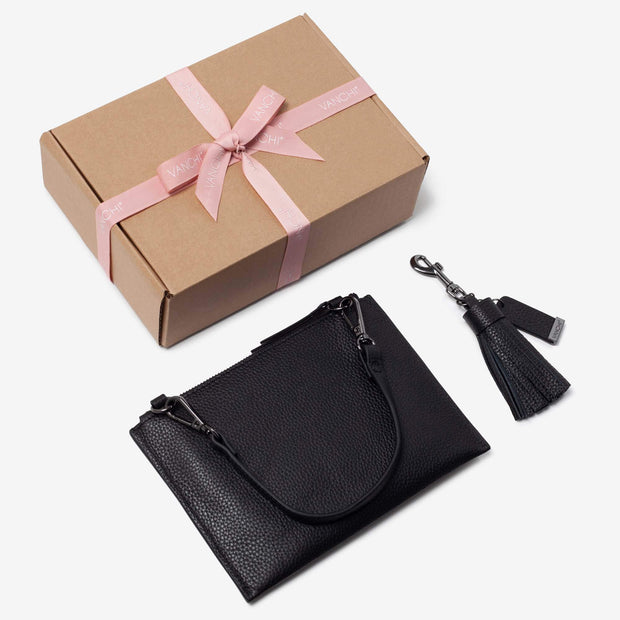 Leather Pouch + Leather Key Ring/ Bag Tassel Gift Set – Black