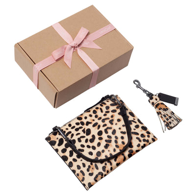 Leather Pouch + Leather Key Ring/ Bag Tassel Gift Set – Leopard