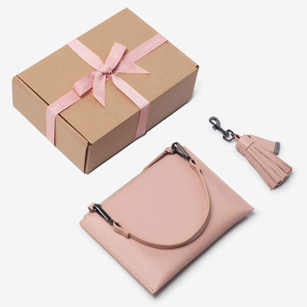 Leather Pouch + Leather Key Ring/ Bag Tassel Gift Set – Blush