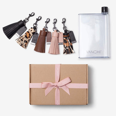 Leather Key Ring/ Bag Tassel + Bottle Gift Set