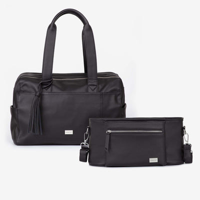 Kahlo Holdall Nappy Bag & VANCHI  Pram Caddy Black Bundle