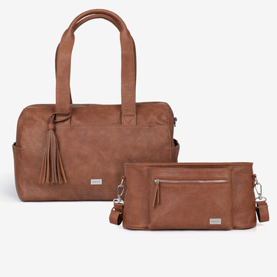 Kahlo Holdall Nappy Bag & VANCHI  Pram Caddy Tan Bundle