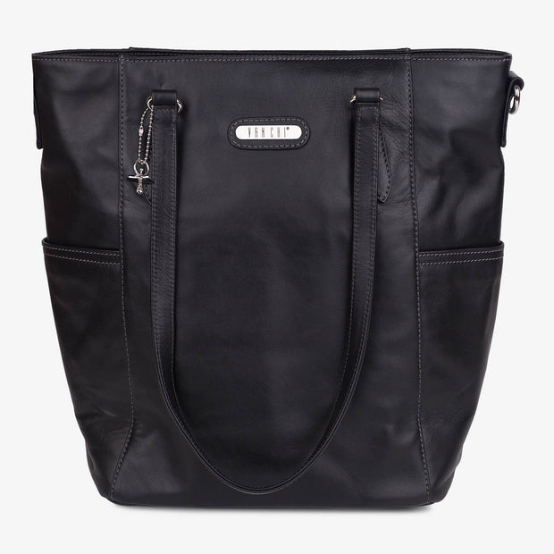 Lucca Leather Tote - Black