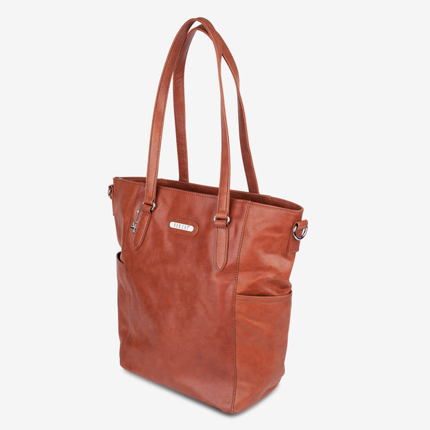 VANCHI Lucca Leather Tote - Chestnut Nappy Bag