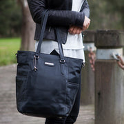 VANCHI Lucca Leather Tote - Black Nappy Bag