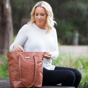 Lucca Tote - Chestnut | Vanchi Nappy Bags | Premium Nappy Bags | For Style Savvy Mums