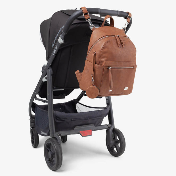 Manhattan Backpack Nappy Bag & Pram Caddy - Tan Bundle