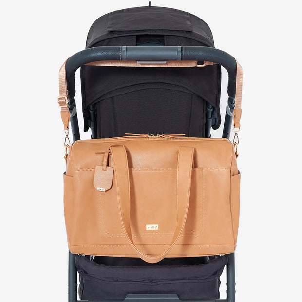 VANCHI Maya Holdall Nappy Bag on pram - Camel