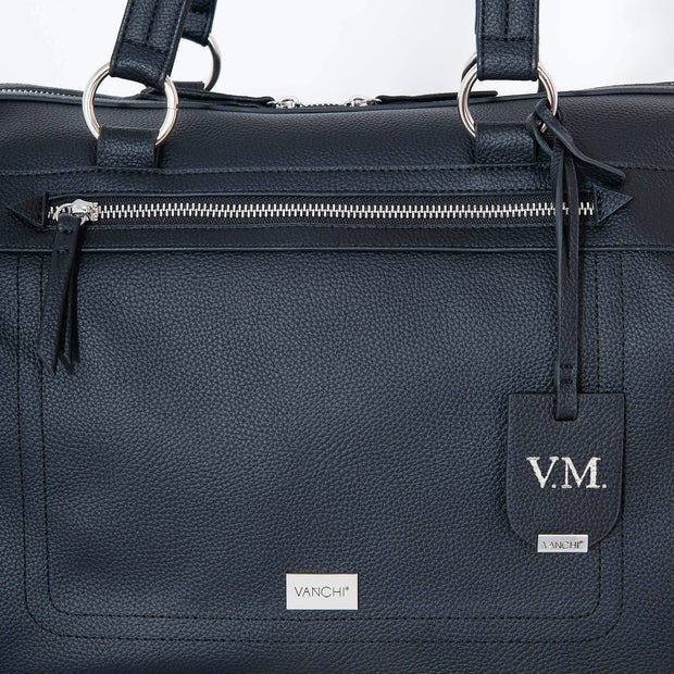 VANCHI Steffi Carryall Nappy Bag - Black Monogrammed