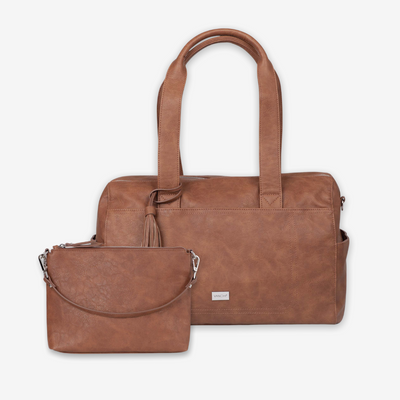 Kahlo Holdall Nappy Bag & Vegan Leather Crossbody Bag - Tan Bundle