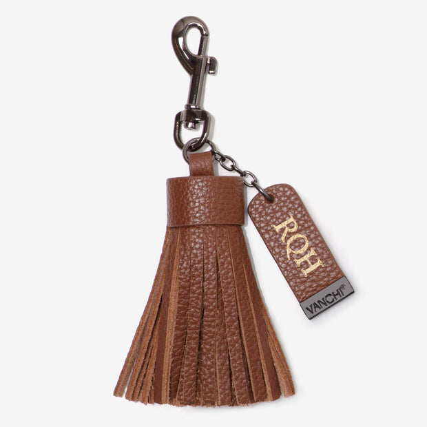 Leather Pouch + Leather Key Ring/ Bag Tassel Gift Set – Tan