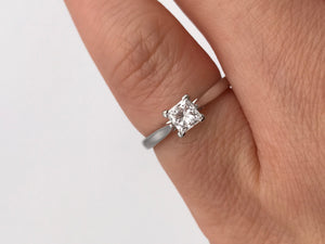 18k white gold 0.45ct, F-G colour, VS2 clarity, princess cut diamond solitaire ring - Pre-loved