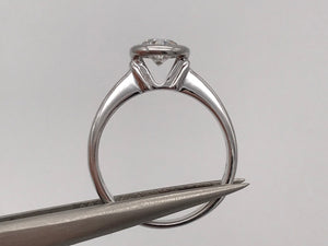 18k white gold 0.51ct, F-G colour, VVS clarity bezel set diamond solitaire ring - Pre-loved