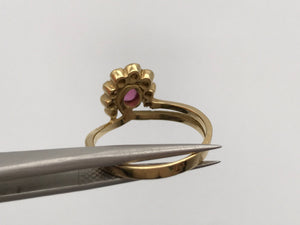 18k yellow gold ruby and diamond half halo ring - Pre-loved