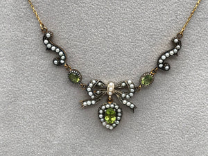 9k and silver gilt seed pearl and peridot extendable necklace - Pre-loved