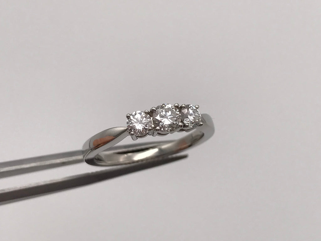 Platinum pt950 0.75ct Diamond Trilogy Ring