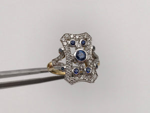18k yellow gold blue sapphire and diamond ring in Art Deco style