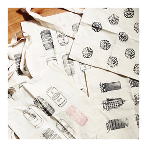 Hand-Printed Cotton Canvas Tote