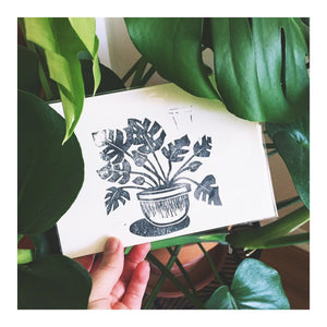 Monstera Plant Relief Print