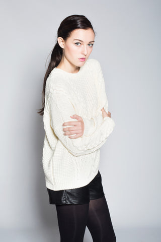 Cozy White Cable Sweater
