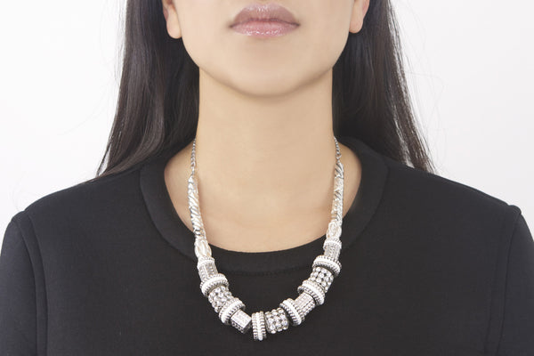 Cleopatra Silver Beaded Necklace