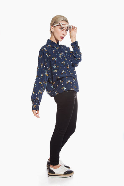 Navy Fawn Blouse