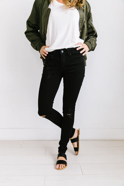 Ripped Knee Black Skinny Jeans