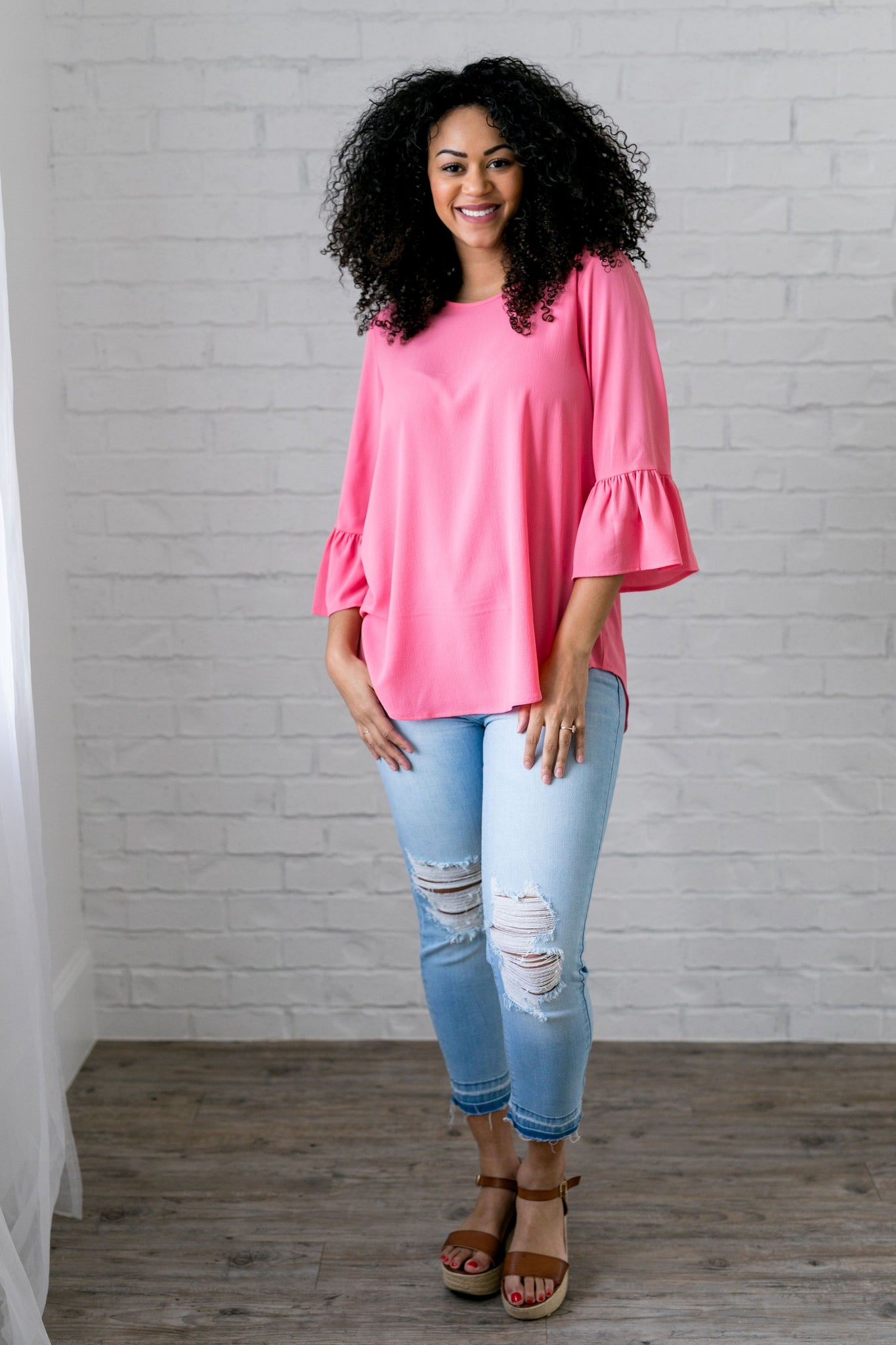 Trumpet Sleeve Blouse In Petunia Pink