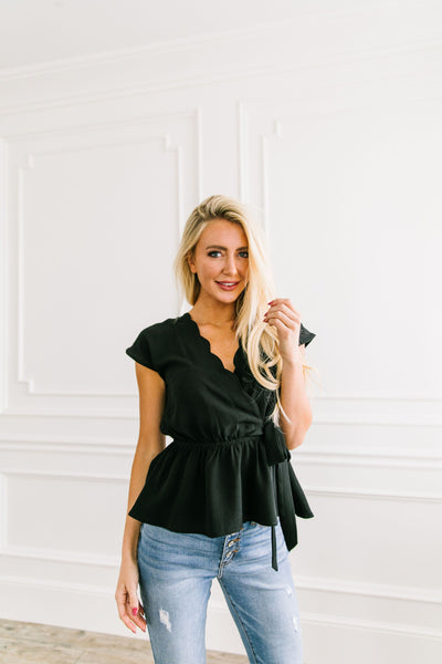 Charlotte Scalloped V Black Blouse